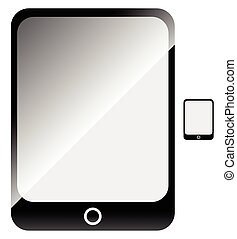 Tablet with blank screen. Flat symbol included.