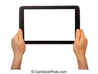 Tablet with blank screen in female hands on white