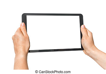 Tablet with blank white screen in female hands