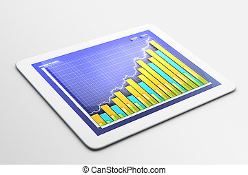 Tablet with business chart