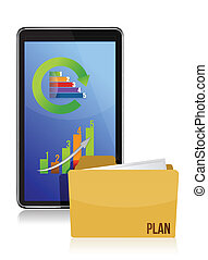 tablet with business charts
