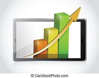 tablet with business profits illustration design