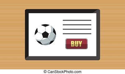 tablet with buy online sport equipment application