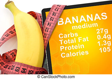 Tablet with Calories In banana