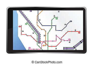 tablet with city map illustration