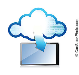tablet with cloud computing symbol