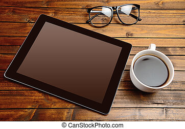 Tablet with coffee cup