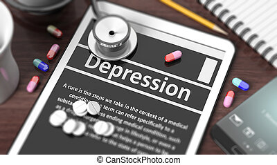 """Tablet with """"Depression,"""" on screen, stethoscope, pills and objects on wooden desktop."""