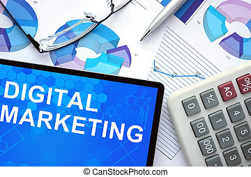 Tablet with Digital Marketing.