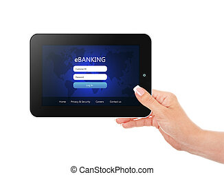 tablet with ebanking login page holded by hand isolated over wh