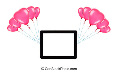 tablet with empty screen on balloons