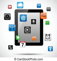 Tablet with Floating Apps - Vector tablet with app icons ...