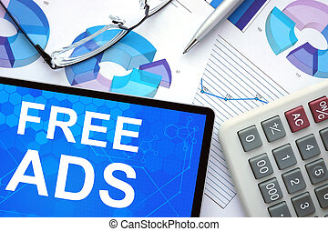 Tablet with free ads. - Tablet with free ads, graphs and...