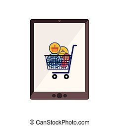 tablet with full shopping cart