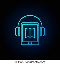 Tablet with headphones blue icon