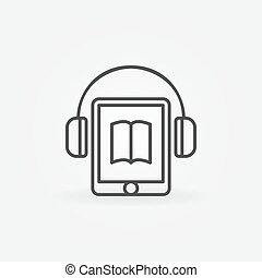 Tablet with headphones icon - vector audiobook e-book...
