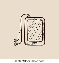 Tablet with headphones sketch icon.