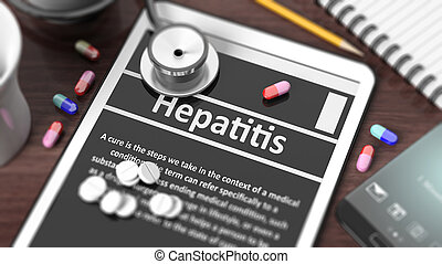 """Tablet with """"Hepatitis"""" on screen, stethoscope, pills and objects on wooden desktop."""
