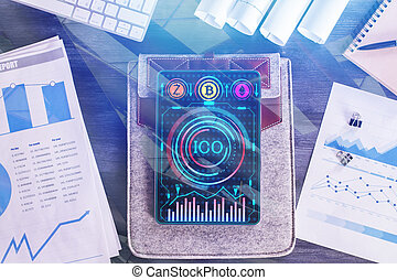 Tablet with ICO chart - Top view of tablet with ICO chart on...