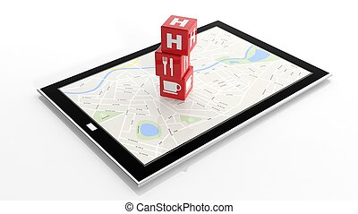 Tablet with map and cubes with locations isolated on white