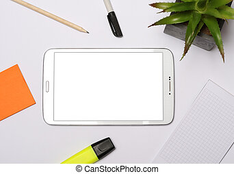 tablet with office items