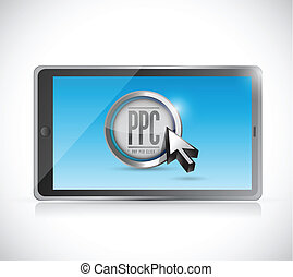 tablet with pay per click button