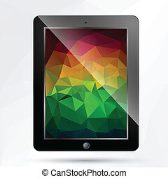tablet with polygonal background