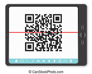 tablet with QR barcode