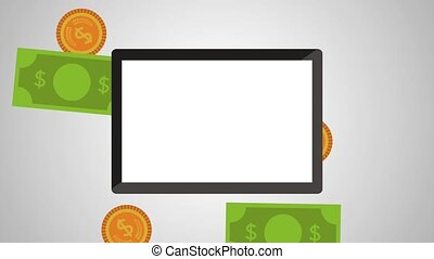 tablet with rain money animation