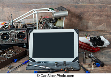 tablet with rc radio control car and tools - tablet with a ...