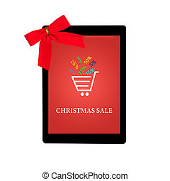 tablet with red gift bow and christmas sale on a screen