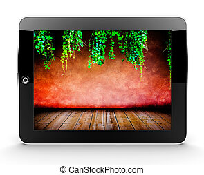 Tablet with red wall