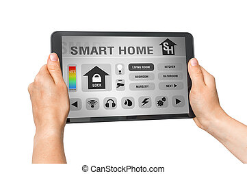 Tablet with remote smart home control system on white