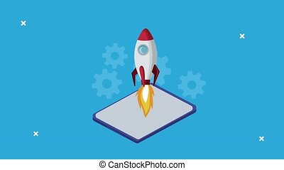 tablet with rocket launcher business online technology animation ,4k video animated