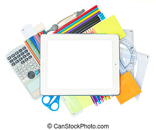 Tablet with school supplies