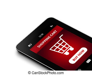 tablet with shopping cart isolated over white background