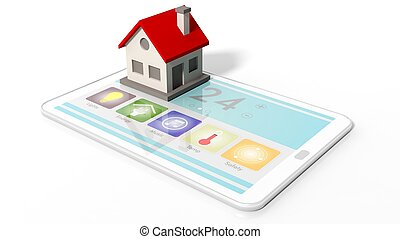 Tablet with smart home remote control screen and house icon, isolated on white background.