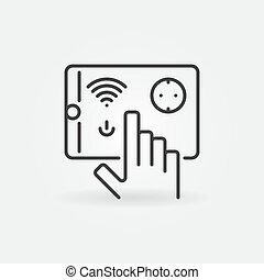 Tablet with Smart Socket vector outline icon