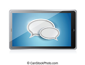 tablet with speech bubbles illustration