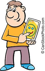 tablet with tablet pc cartoon - Cartoon Illustration of Man...