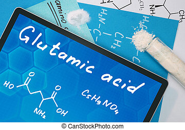 chemical formula of Glutamic acid - Tablet with the chemical...