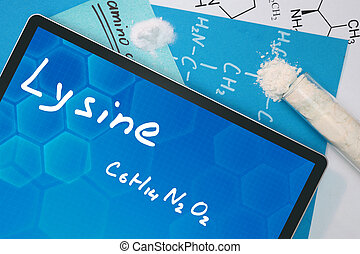 the chemical formula of Lysine. - Tablet with the chemical ...