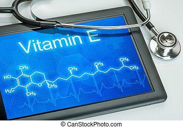 Tablet with the chemical formula of Vitamin E