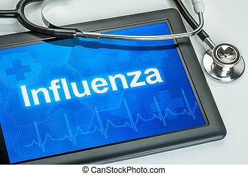 Tablet with the diagnosis Influenza on the display