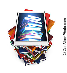 Tablet with the image of books on a stack of books isolated on white background