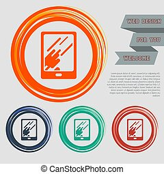 Tablet with the reflection of light icon on the red, blue, green, orange buttons for your website and design space text. Vector