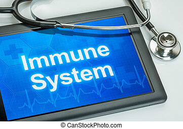 Tablet with the text Immune system on the display