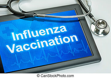 Tablet with the text Influenza Vaccination on the display