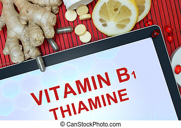 Tablet with Thiamine (vitamin b1) - Tablet with words ...