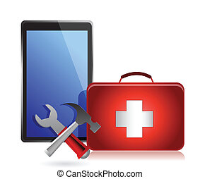 Tablet with tools and a first aid kit on a white background